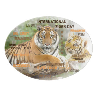 International Tiger Day, July 29, Typography Art Porcelain Serving Platter