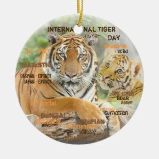 International Tiger Day, July 29, Typography Art Round Ceramic Decoration