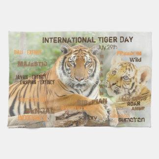International Tiger Day, July 29, Typography Art Tea Towel
