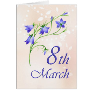 International women's day, bluebells flowers greeting card