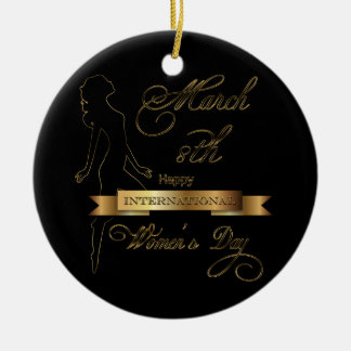 International Women's Day Elegant Gold Customize Christmas Ornament