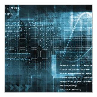 Internet Concept Background with Digital Concept 13 Cm X 13 Cm Square Invitation Card
