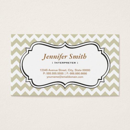 Interpreter - Chevron Simple Jasmine Business Card
