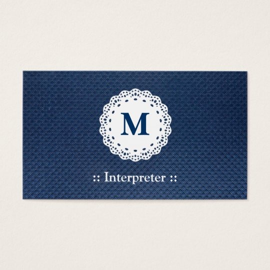 Interpreter - Lace Monogram Blue Pattern Business Card