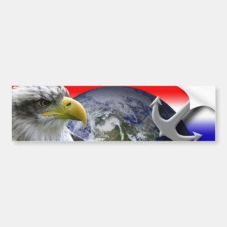 Interpretive Eagle Globe and Anchor Bumper Sticker
