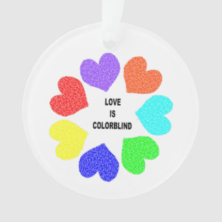 Interracial Love Rainbow Hearts Acrylic Ornament