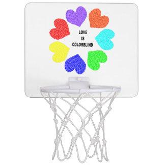 Interracial Love Rainbow Hearts Basketball Hoop