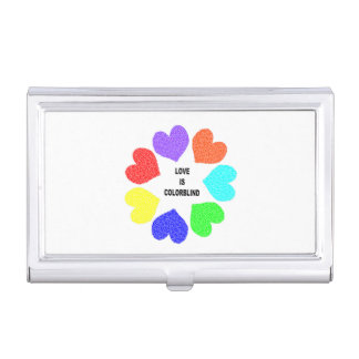 Interracial Love Rainbow Hearts Business Card Holder