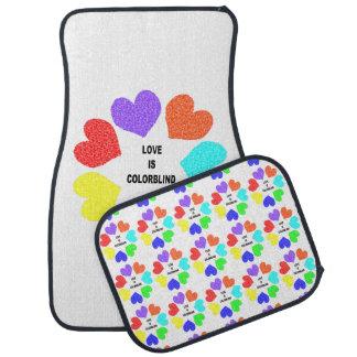 Interracial Love Rainbow Hearts Car Mat Set