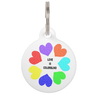 Interracial Love Rainbow Hearts Custom Dog Tag