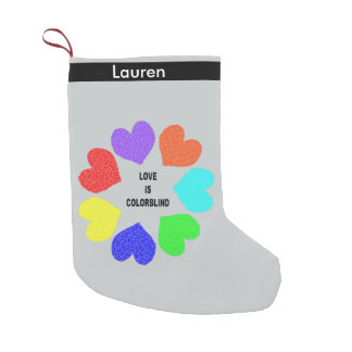 Interracial Love Rainbow Hearts Custom Stocking