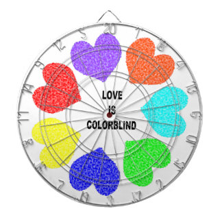 Interracial Love Rainbow Hearts Dart Board
