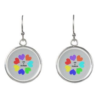 Interracial Love Rainbow Hearts Drop Earrings