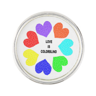Interracial Love Rainbow Hearts Lapel Pin