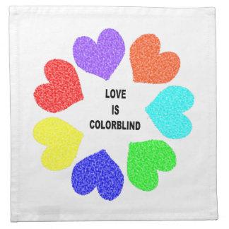 Interracial Love Rainbow Hearts Napkin