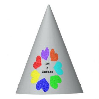 Interracial Love Rainbow Hearts Party Hat
