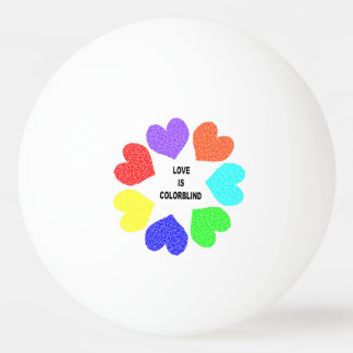 Interracial Love Rainbow Hearts Ping Pong Ball