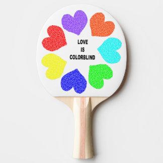 Interracial Love Rainbow Hearts Ping Pong Paddle