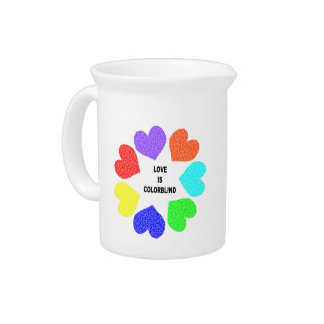 Interracial Love Rainbow Hearts Pitcher