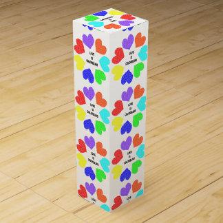 Interracial Love Rainbow Hearts Wine Gift Box