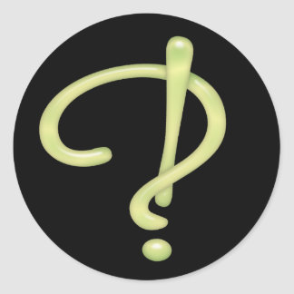 Interrobang Green Glass Black RND Classic Round Sticker