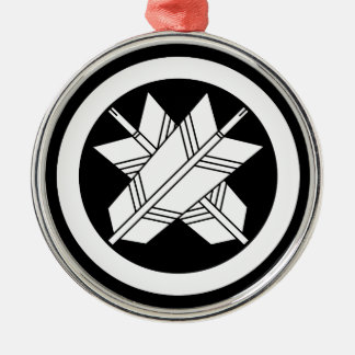 Intersecting arrows in circle Silver-Colored round decoration