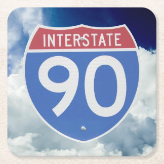 Interstate 90 Shield against Blue Sky with Clouds Square Paper Coaster