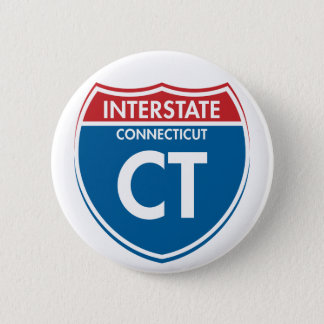 Interstate Connecticut CT 6 Cm Round Badge