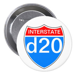 Interstate d20 7.5 cm round badge