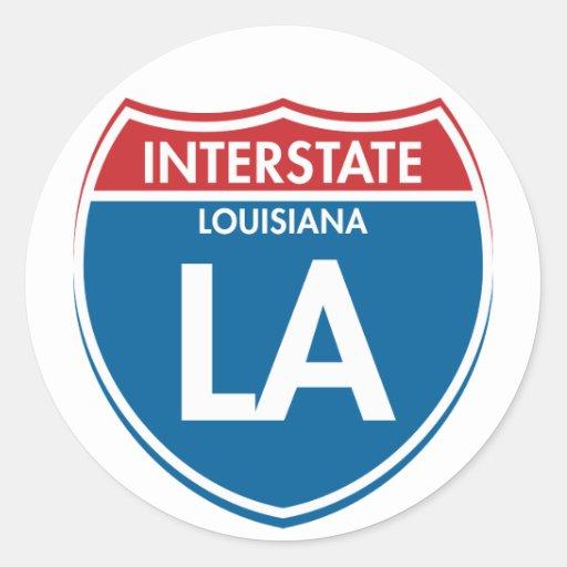 Interstate Louisiana LA Round Sticker