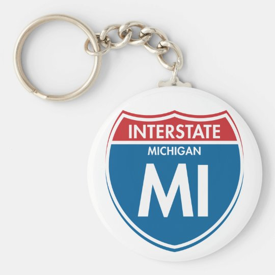 Interstate Michigan MI Basic Round Button Key Ring