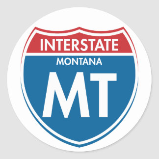 Interstate Montana MT Classic Round Sticker