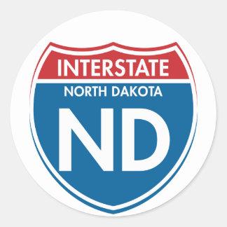 Interstate North Dakota ND Round Stickers