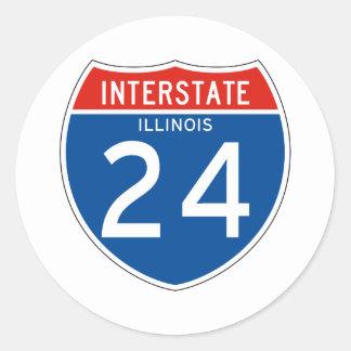 Interstate Sign 024 - Illinois Round Sticker