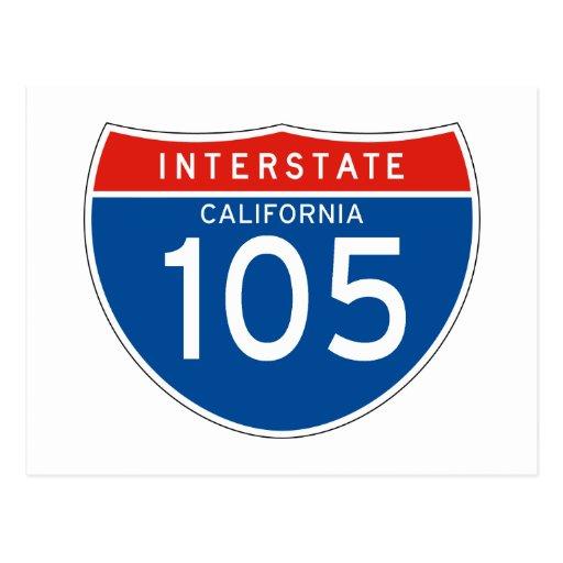 Interstate Sign 105 - California Postcards