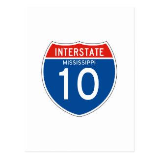 Interstate Sign 10 - Mississippi Postcards