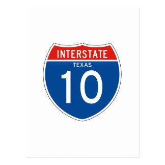 Interstate Sign 10 - Texas Postcard
