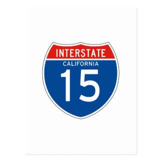 Interstate Sign 15 - California Postcard