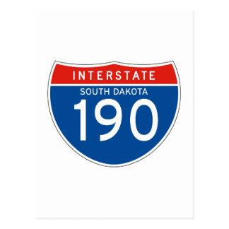 Interstate Sign 190 - South Dakota Postcard