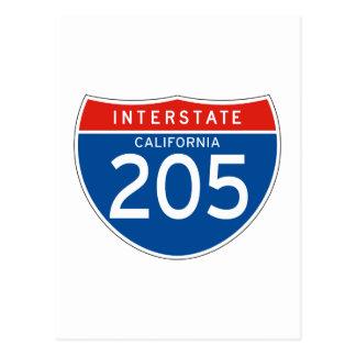 Interstate Sign 205 - California Postcard