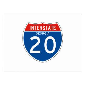 Interstate Sign 20 - Georgia Post Card