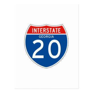 Interstate Sign 20 - Georgia Postcard