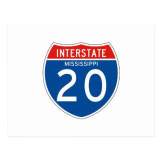 Interstate Sign 20 - Mississippi Postcard