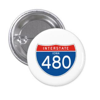 Interstate Sign 480 - Iowa 3 Cm Round Badge