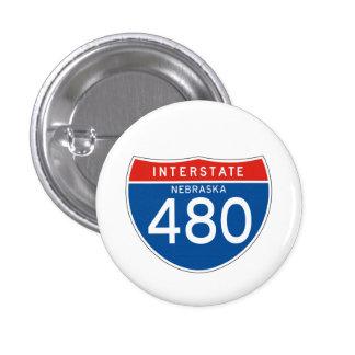 Interstate Sign 480 - Nebraska 3 Cm Round Badge