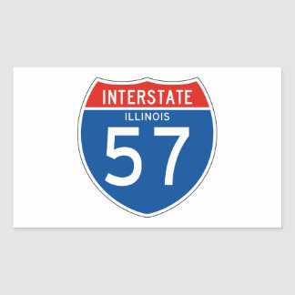 Interstate Sign 57 - Illinois Rectangular Sticker