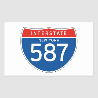 Interstate Sign 587 - New York Rectangular Sticker