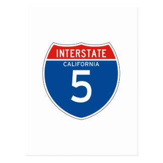 Interstate Sign 5 - Californian Postcard