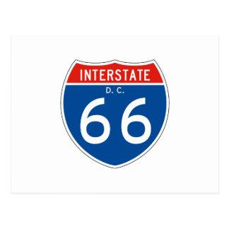 Interstate Sign 66 - Washington DC Postcard