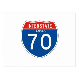 Interstate Sign 70 - Kansas Postcard